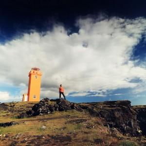 оранжевый маяк Исландии в 3D. Фото Люся Маратканова