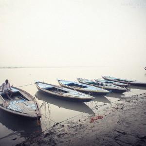 varanasi boats on the shore in india