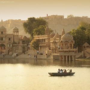 gadisar lake in jaisalmer in india