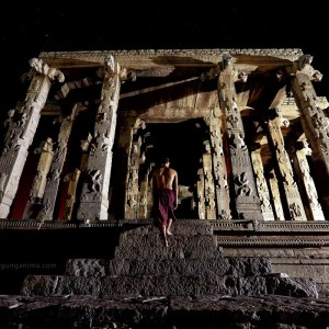 ancient temple in hampi in india in the night