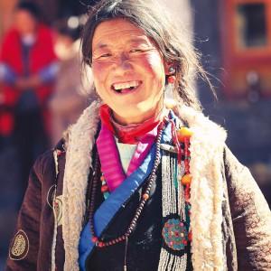 buddhist pilgrim in sershul monastery in tibet
