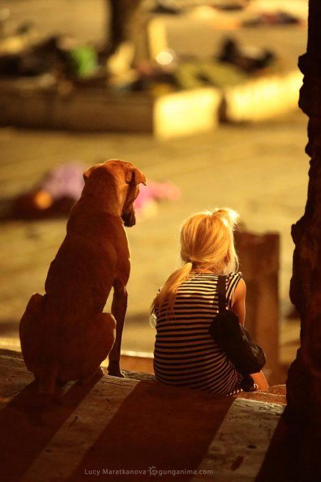 Хампи. Девочка и собака на ступеньках. Фото Люси Мараткановой.
