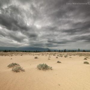 clouds above desert in russia