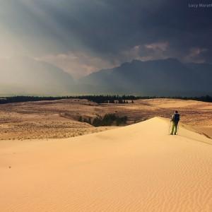 trekking to desert in baikal in russia