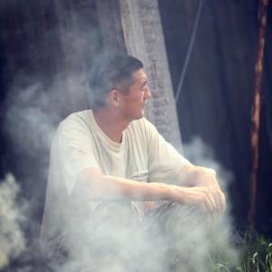 smoke from fire in village in russia