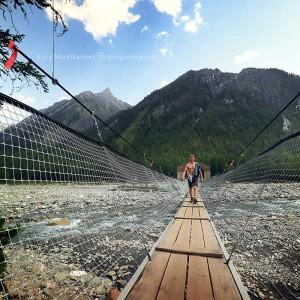 bridge at shumak springs in baikal in russia