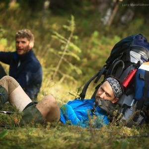 halt in trekking in baikal in russia