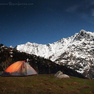nught camping in mountains in india