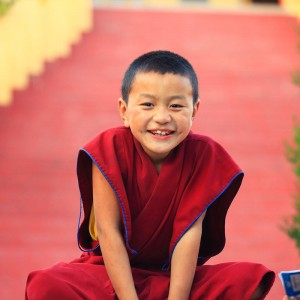 little smiling monk in india