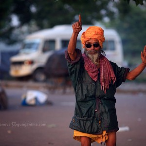 hindu man on the road in glasses in haridvar in india