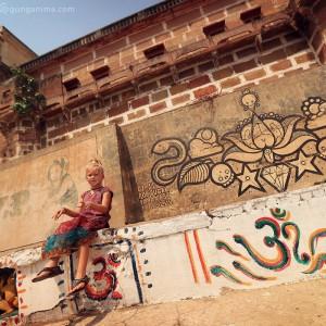 white girl in varanasi in india