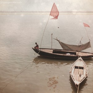 boats on varanasi coast in india