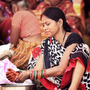 indian girl in varanasi in india