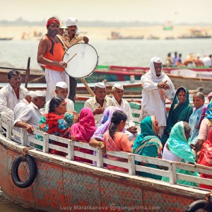 boat full of people on gang river in varanasi in india