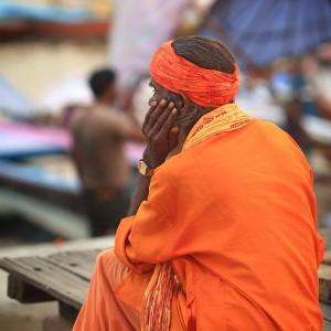 man is thinking in varanasi in india