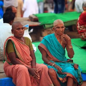 two in sari in varanasi in india