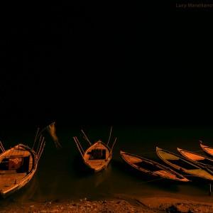 boats at the coast in varanasi in india
