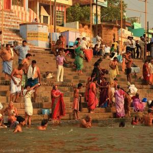 ablution in gang river in varanasi in india