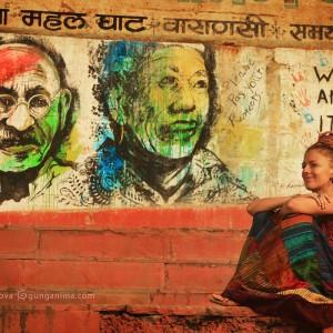 boho birl and graffiti in varanasi in india