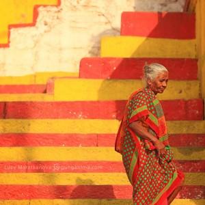 woman in sari in varanasi in india