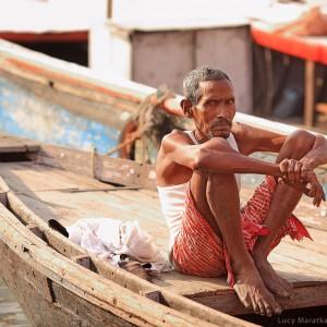 indian boatman in varanasi