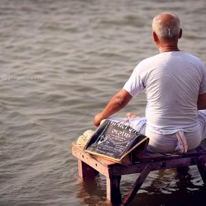 meditation in water in varanasi in india