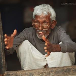 old man in glasses in varanasi in india