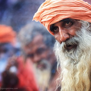 indiam man with long grey beard in varanasi in india