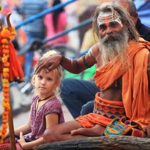 sadhu blessing in varanasi in india