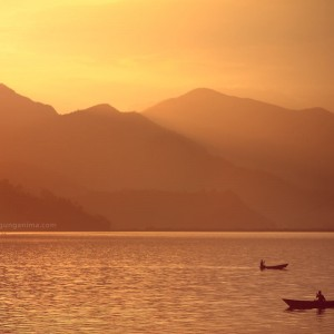 sunset on Phewa lake in Pokhara