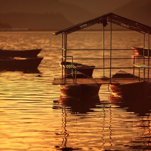 boats with roof on phewa lake in nepal
