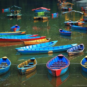 boats in pokhara in nepal