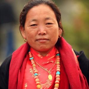 nepali woman with beads