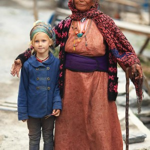 girl and nepali old woman