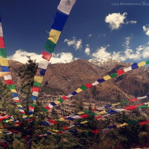 prayer flags in nepal in mountains