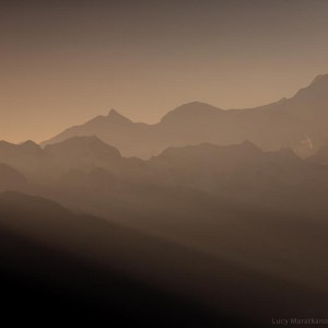 himalayan mountains in beams of the dawn light in nepal