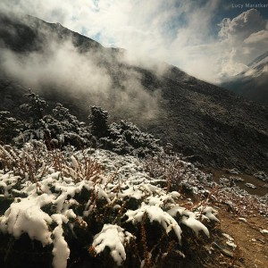 snow on slopes of nepali mountains in nepal in annapurna