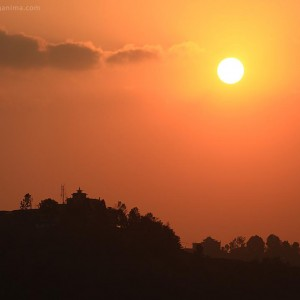 sunset in kathmandu in nepal
