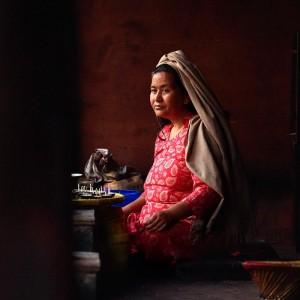 woman in the streets of kathmandu in nepal