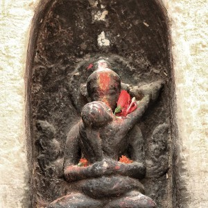 sacred buddhist sculpture bodnath in nepal