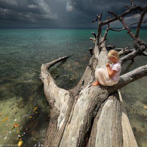 девочка на засохшем дереве в море перед штормом в индии на андаманских островах