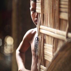 indian boy on majuli island in india