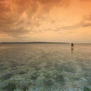 Закат на острове Хэвелок в Андманских островах в Индии